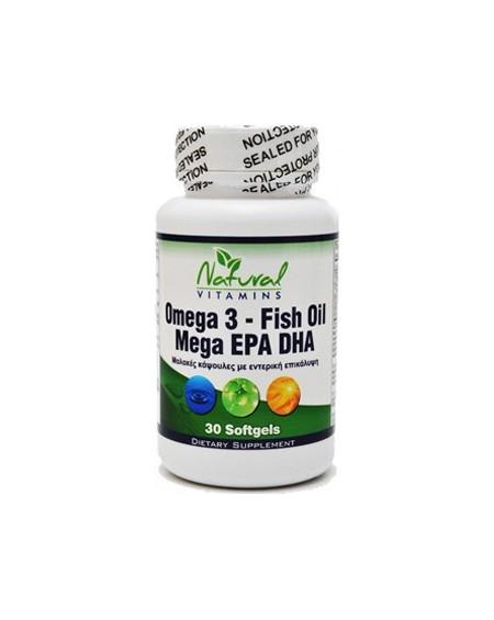 Natural Vitamins Omega 3 - Fish Oil Mega EPA DHA 30softgels