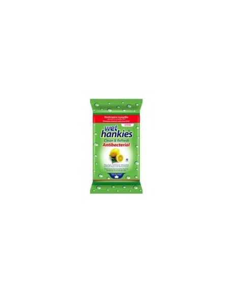Mega Disposables S.A. Wet Hankies Antibacterial Lemon 15 τεμ.