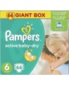 Pampers Active Baby Dry No 6 (15+ kg) Giant Box Πάνες 66τμχ (τιμή ανά πάνα 0,28€)