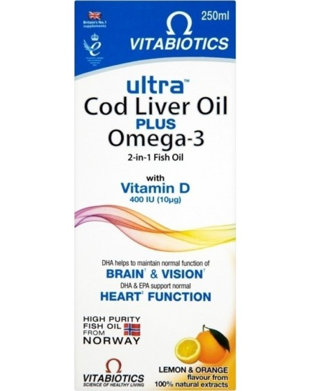 Vitabiotics Ultra Cod Liver Oil + Omega-3 Liquid 250ml