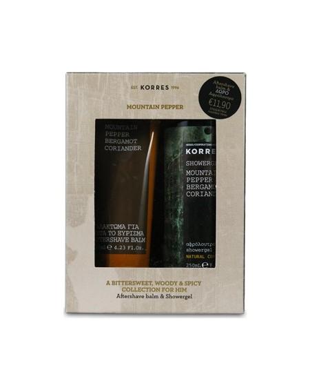 Korres Gift Set Mountain Pepper/Bergamot/Coriader Aftershave Balm 125ml & Αφρόλουτρο 250ml ΔΩΡΟ